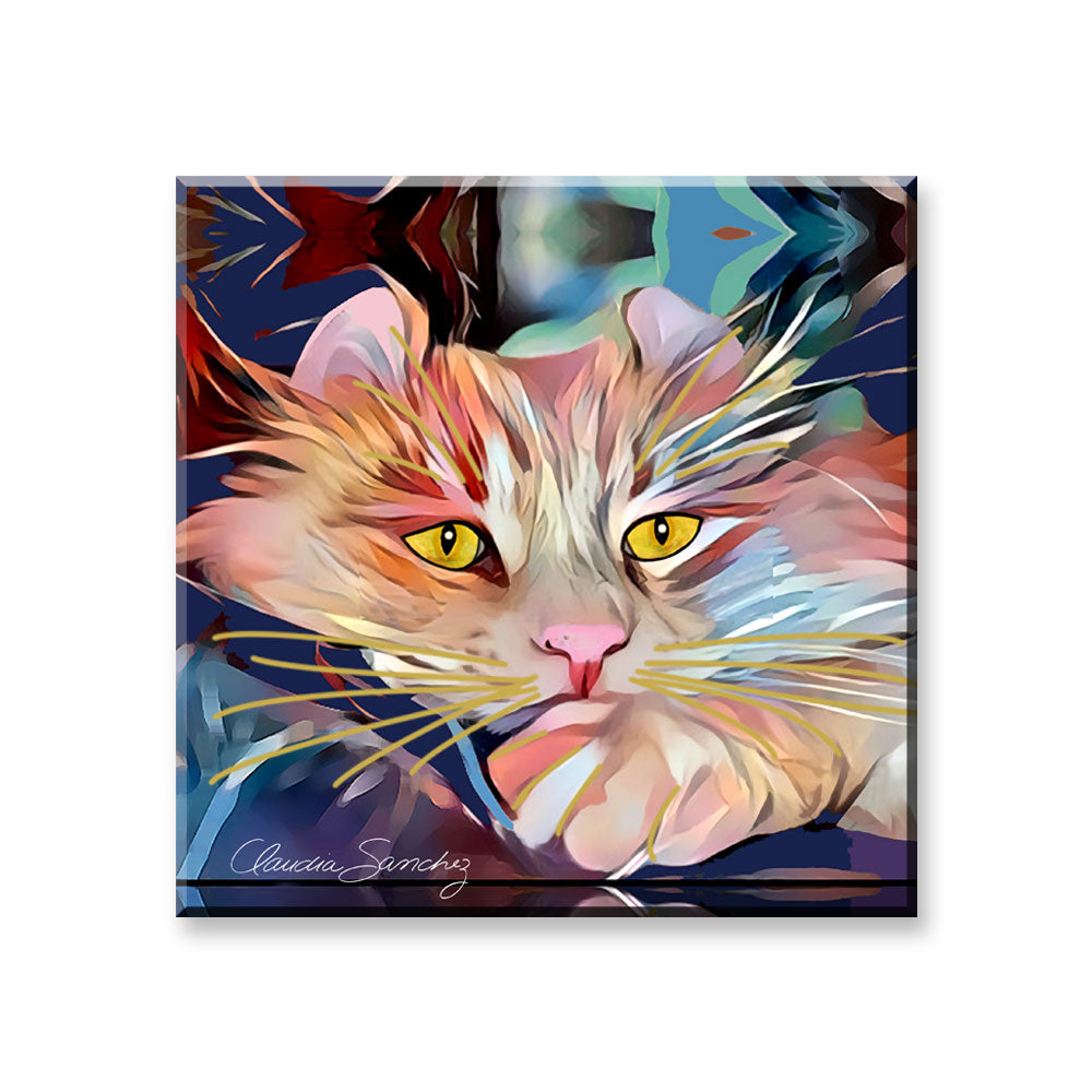 Simba's Gaze - Cat Art Magnet by Claudia Sanchez