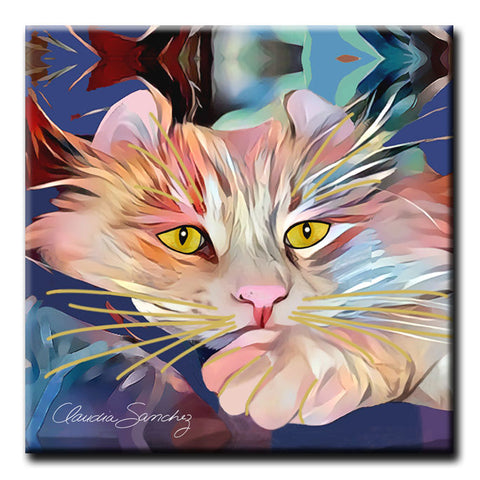 Simba's Gaze Decorative Ceramic Cat Art Tile