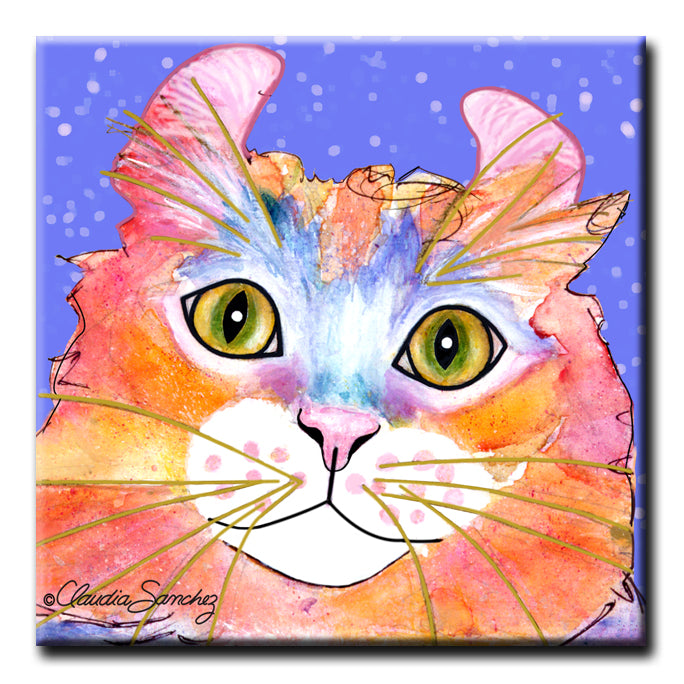 Simba's Portrait on Periwinkle -  Decorative Ceramic Cat Art Tile