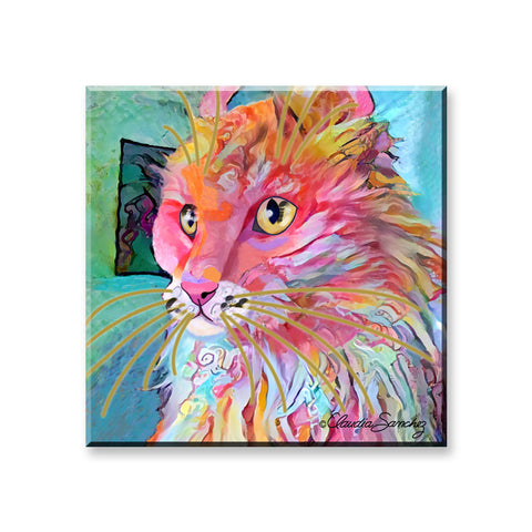 Simba's Profile - Cat Art Magnet by Claudia Sanchez