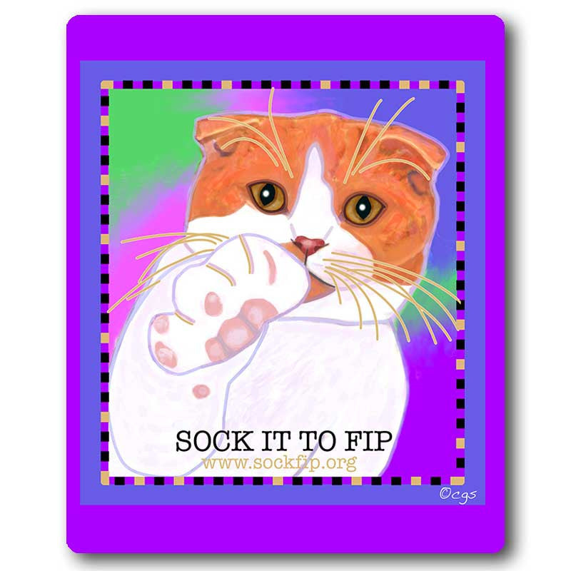 Sock it to FIP Cat Art Mousepad by Claudia Sanchez, Cats for the Cure