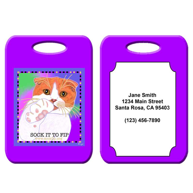 Sock it to FIP - Cat Art Luggage Tag by Claudia Sanchez, Cats for the cure