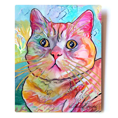 Spotty Aluminum Cat Art Print, 8x10""