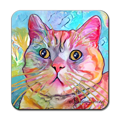 Spotty Cat Art Coaster