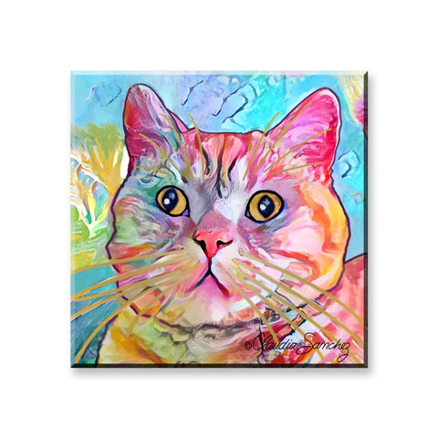 Spotty - Cat Art Magnet by Claudia Sanchez