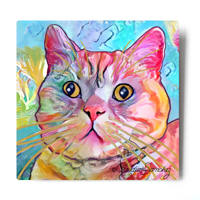 Spotty Aluminum Cat Art Print by Claudia Sanchez