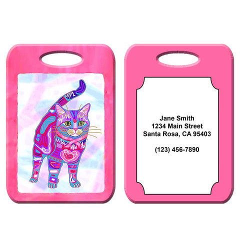 Supurr Purrsie - Cat Art Luggage Tag by Claudia Sanchez, Cats for the Cure