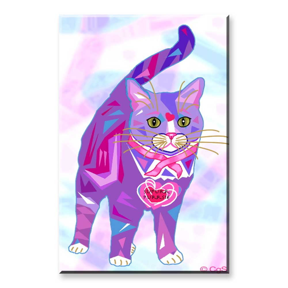 Supurr Purrsie - Cat Art Magnet by Claudia Sanchez