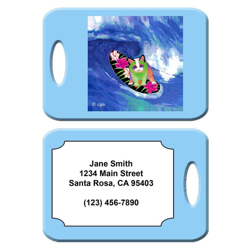 Surfer Boy - Cat Art Luggage Tag by Claudia Sanchez