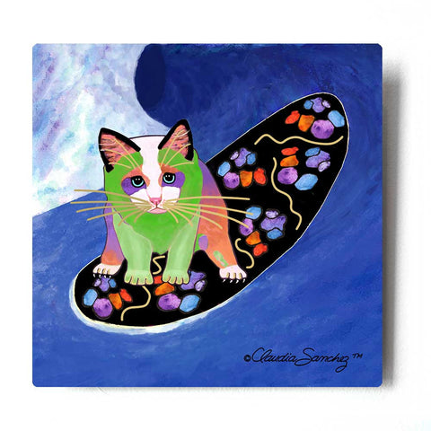 Poi Surfer Boy Aluminum Cat Art Print by Claudia Sanchez