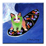 Poi Surfer Boy Ceramic Cat Art Tile by Claudia Sanchez