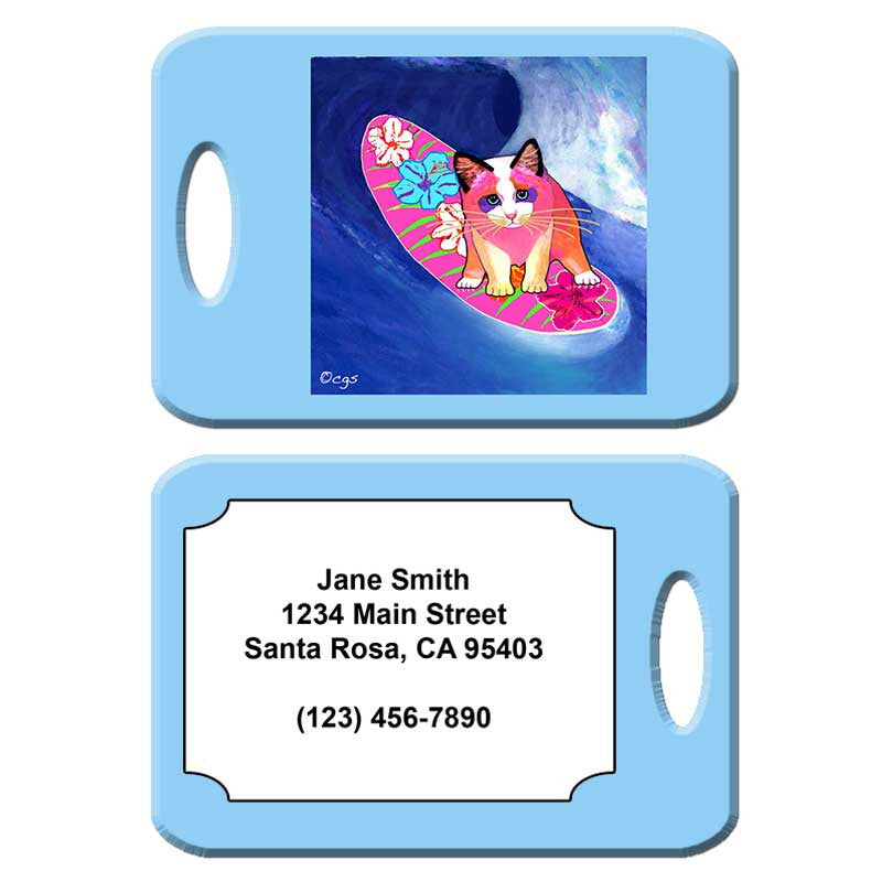 Surfer Girl - Cat Art Luggage Tag by Claudia Sanchez