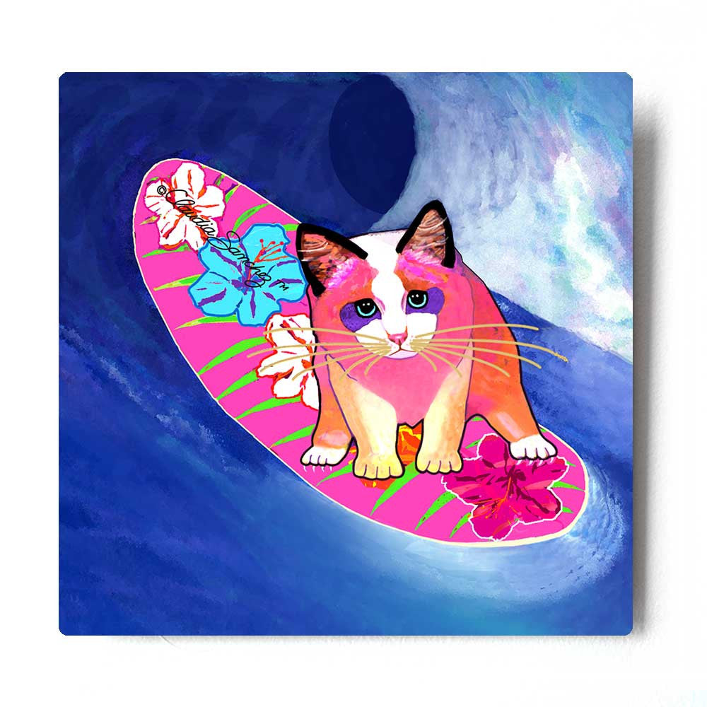Mango Surfer Girl Aluminum Cat Art Print by Claudia Sanchez