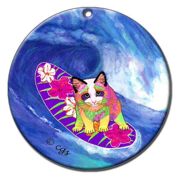 Surfer Girl Ceramic Cat Art Christmas Ornament by Claudia Sanchez, Claudia's Cats Collection