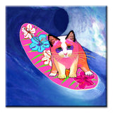 Mango Surfer Girl Ceramic Cat Art Tile by Claudia Sanchez