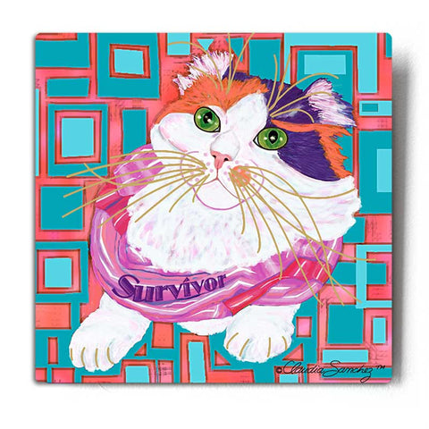 Sabrina Survivor Cat Aluminum Cat Art Print by Claudia Sanchez Cats for the Cure