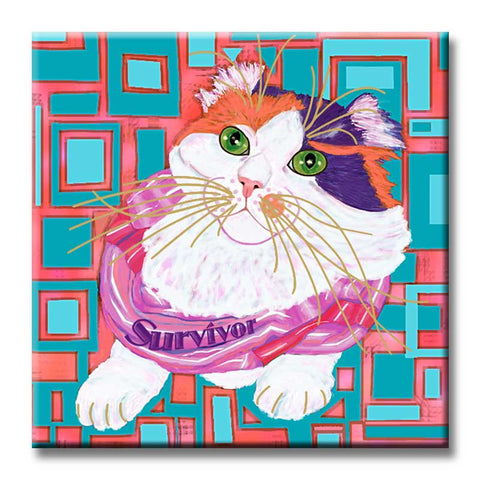 Sabrina Survivor Cat Ceramic Tile by Claudia Sanchez - Cats for the Cure