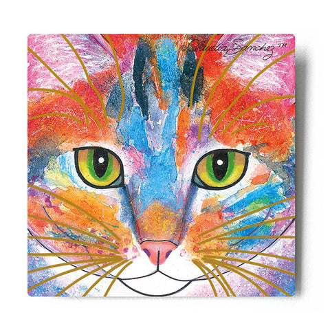 Tabby Fat Cat Face Aluminum Cat Art Print by Claudia Sanchez, Claudia's Cats Collection