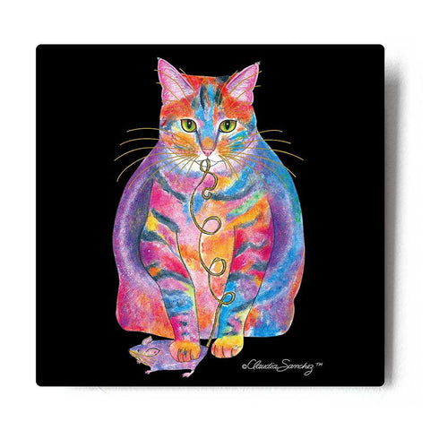Tabby Fat Cat Aluminum Cat Art Print by Claudia Sanchez, Claudia's Cats Collection