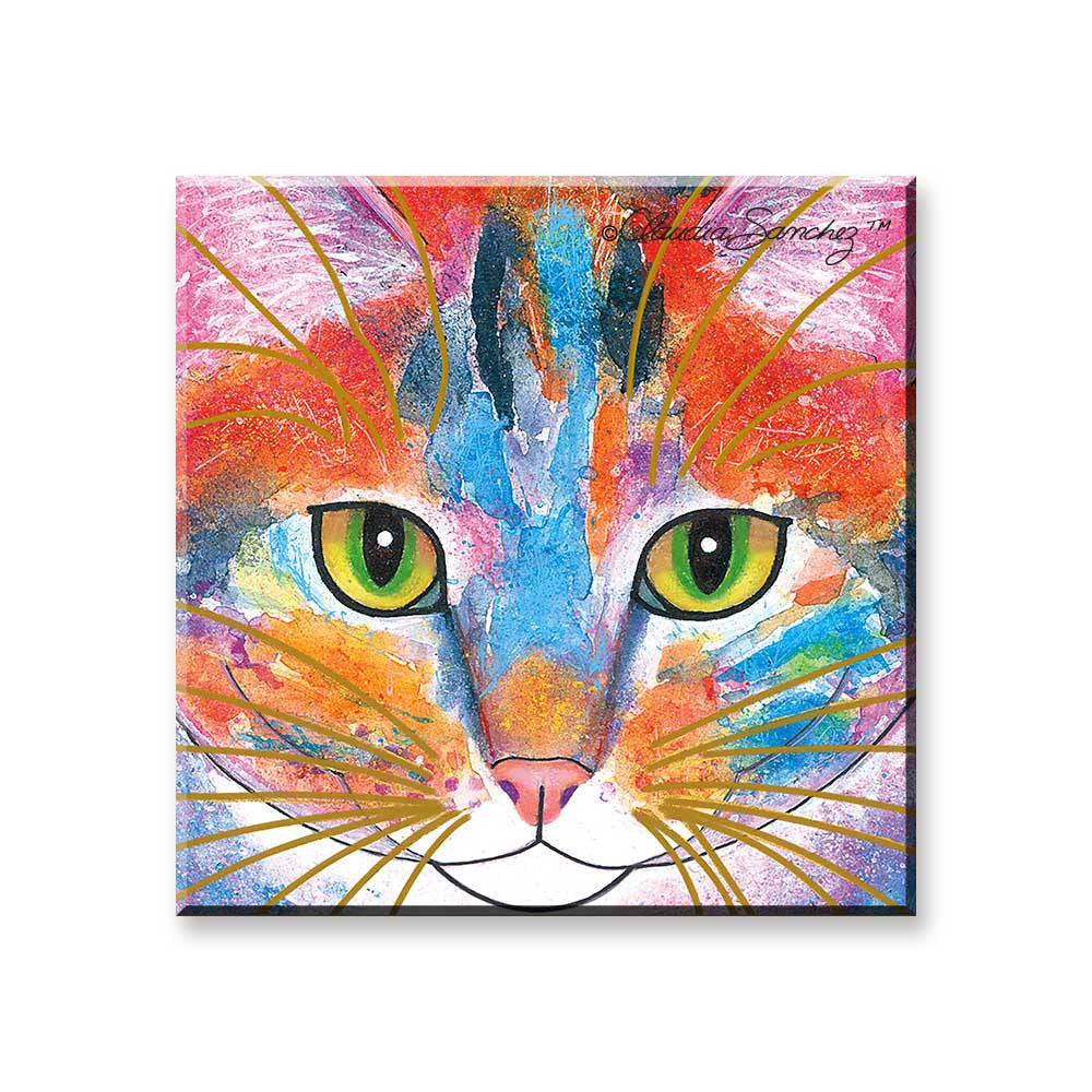 Tabby Fat Cat Face - Cat Art Magnet by Claudia Sanchez