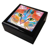 Tabby Fat Cat Face - Cat Art Tile Keepsake Box by Claudia Sanchez