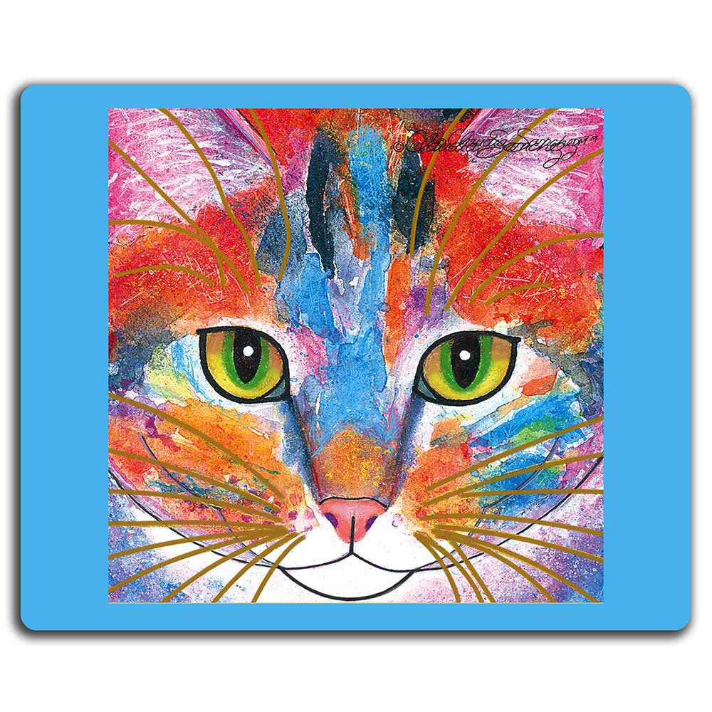 Tabby Fat Cat Face Cat Art Mousepad by Claudia Sanchez