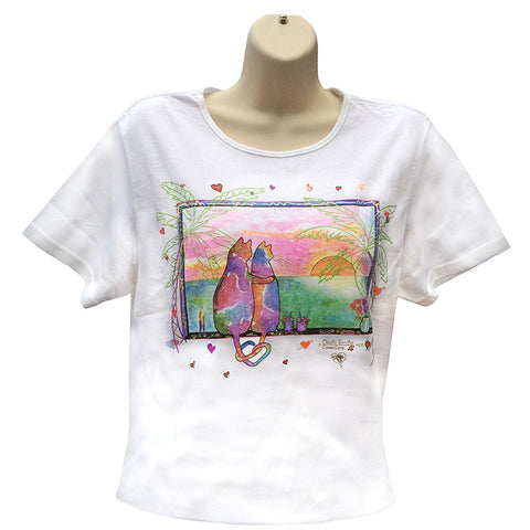 Two Cats in Love Cat Art T Shirt - Tropical Version, by Claudia Sanchez