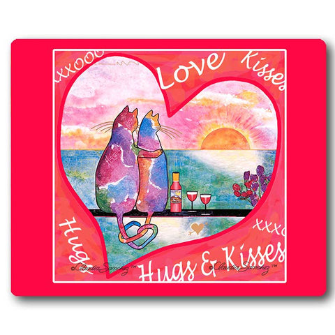 2 Cats in Heart Cat Art Mousepad by Claudia Sanchez, Claudia's Cats Collection