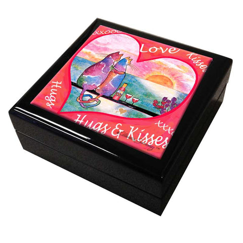 Two Cats in Heart Cat Art Tile Keepsake Box by Claudia Sanchez