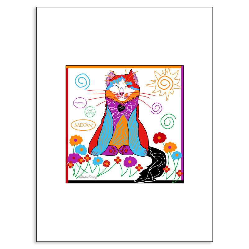 Sabrina Yoga Cat, Archival Matted Cat Art Print by Claudia Sanchez