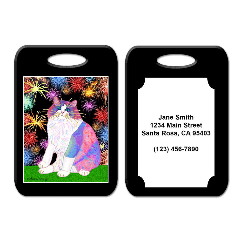 Zapata's Celebration Time Cat Art Luggage Tag by Claudia Sanchez, Claudia's Cats Collection