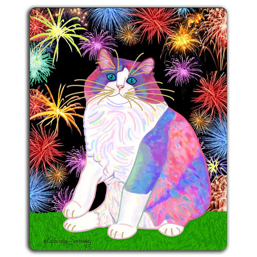 Zapata's Celebration Time Cat Art Mousepad by Claudia Sanchez, Claudia's Cats Collection