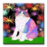 Zapata's Celebration Time - Ceramic Cat Art Tile by Claudia Sanchez, Claudia's Cats Collection