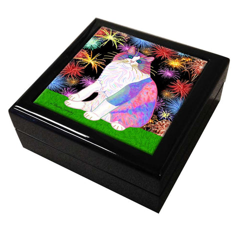 Zapata's Celebration Time - Tile Keepsake Box by Claudia Sanchez, Claudia's Cats