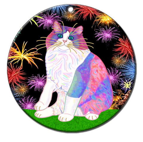 Zapata's Celebration Time - Ragdoll Cat Ornament by Claudia Sanchez, Claudia's Cats