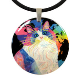 Zapata's World (Night Version) Round Mother of Pearl Cat Art Pendant Necklace by Claudia Sanchez