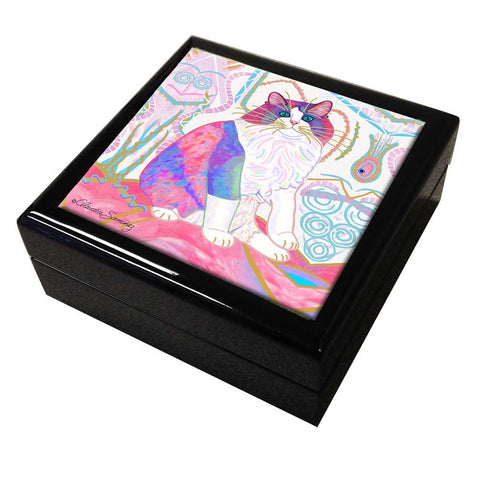 Zapata's Dream World Ragdoll Cat Art Tile Keepsake Box by Claudia Sanchez