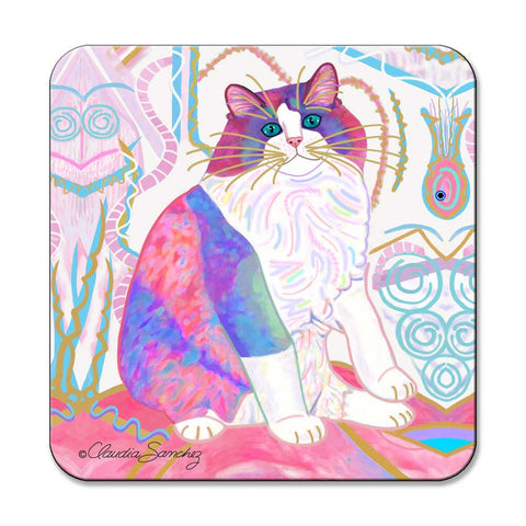 Zapata's Dream World Cat Art Coaster by Claudia Sanchez, Claudia's Cats Collection