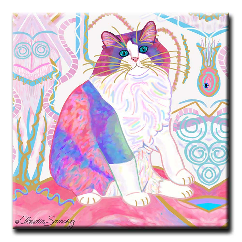 Zapata's Dream World Decorative Ceramic Cat Art Tile by Claudia Sanchez