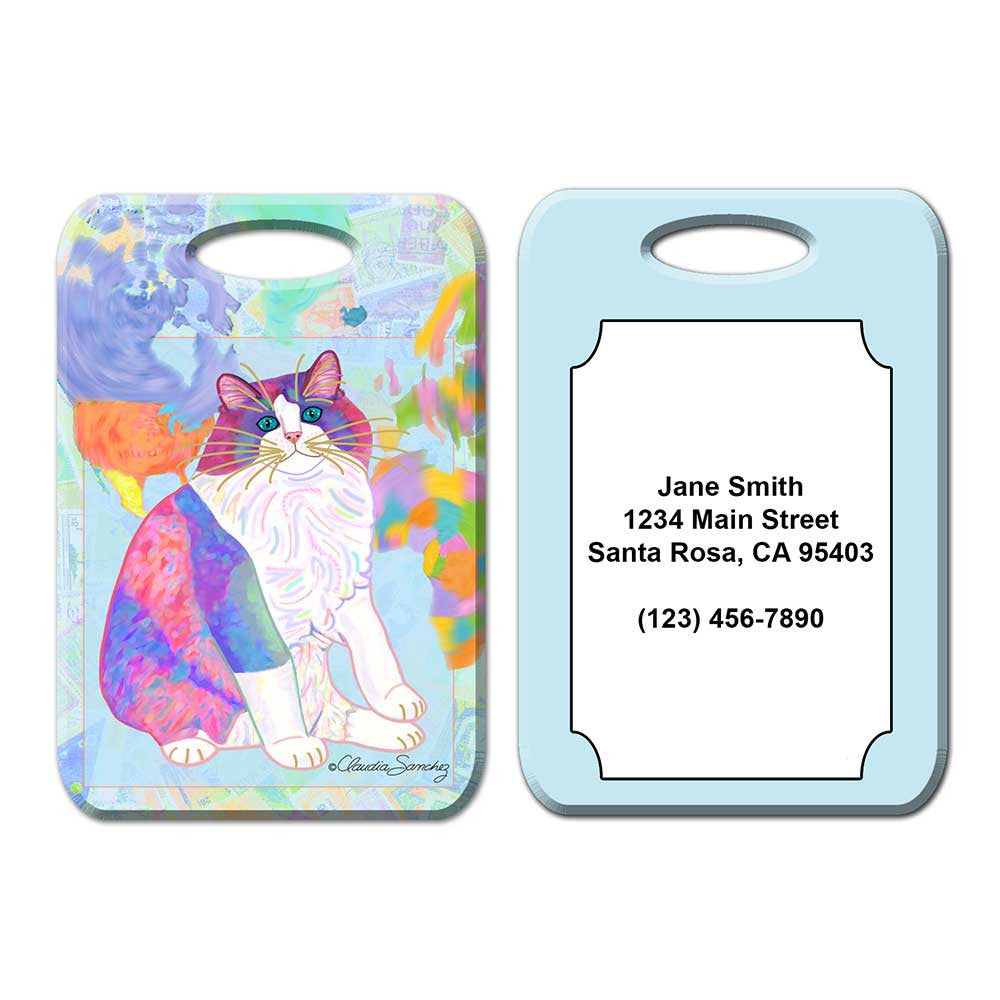 Zapata's World Cat Art Luggage Tag by Claudia Sanchez