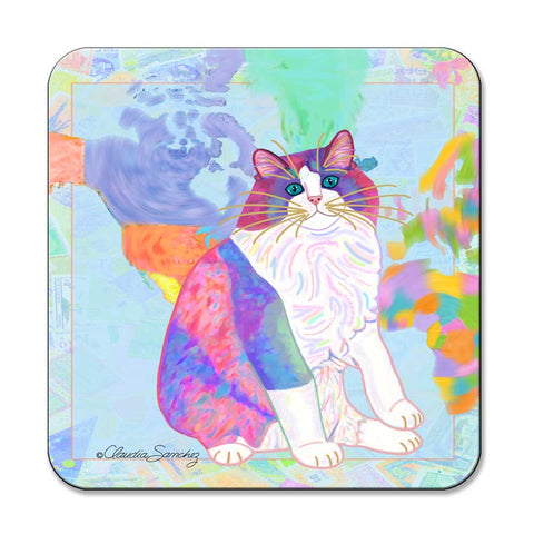 Zapata's World Ragdoll Cat Art Coaster by Claudia Sanchez