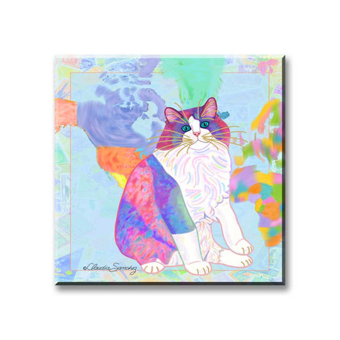 Zapata's World - Cat Art Magnet by Claudia Sanchez