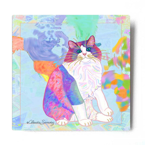 Zapata's World Aluminum Ragdoll Cat Art Print by Claudia Sanchez