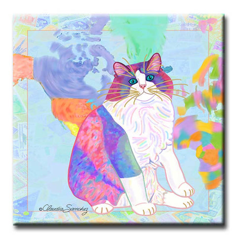 Zapata's World Decorative Ceramic Ragdoll Cat Art Tile by Claudia Sanchez