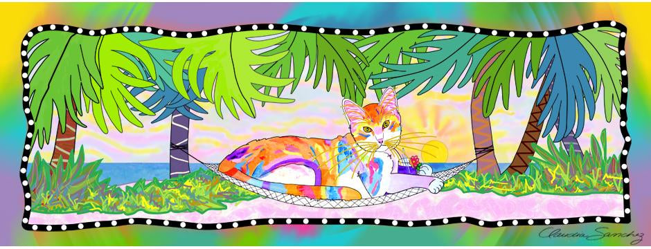 Tropical Cat art by Claudia Sanchez