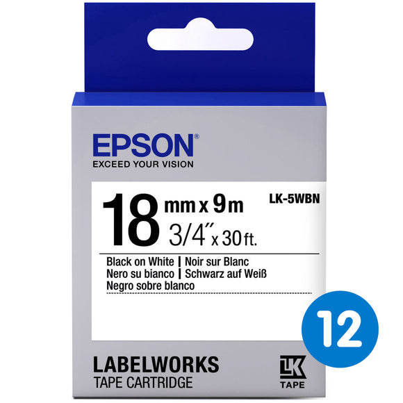 Epson Labelwork LK Tape Cartridge 18mm x 9m, Black on White (LK-5WBN) Pack of 12