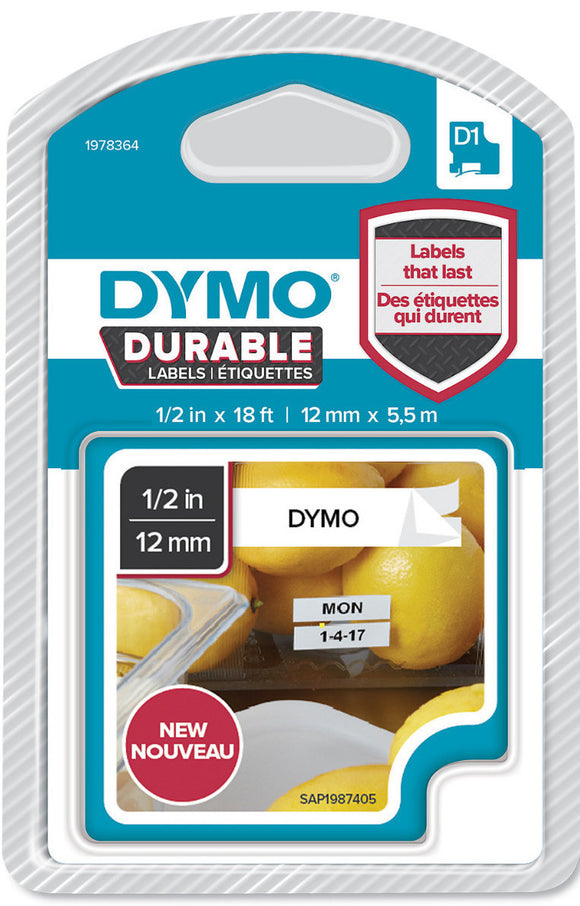 Dymo D1 Durable Label Cassette Tape 12mm x 5.5M - Black on White (1978364)