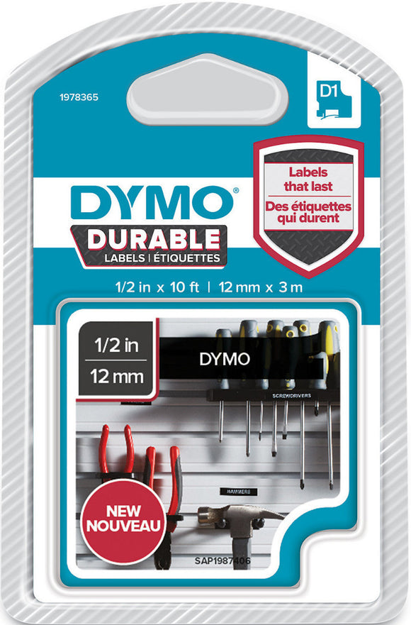 Dymo D1 Durable Label Cassette Tape 12mm x 3M - White on Black (1978365)