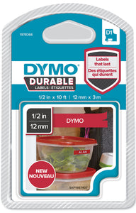 Dymo D1 Durable Label Cassette Tape 12mm x 3M - White on Red (1978366)