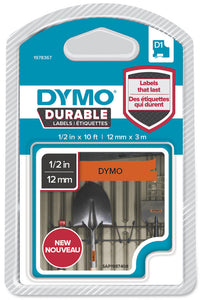 Dymo D1 Durable Label Cassette Tape 12mm x 3M - Black on Orange (1978367)